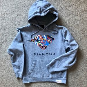 Diamond Supply Co Hoodie, Gray XS